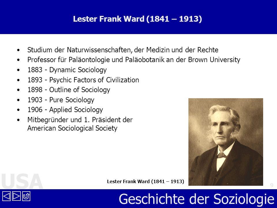 Lester Frank Ward (1841 – 1913) Studium der Naturwissenschaften, der Medizin und der Rechte.