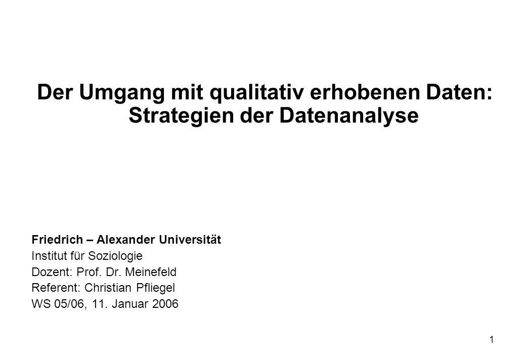 Der Umgang mit qualitativ erhobenen Daten: Strategien der Datenanalyse