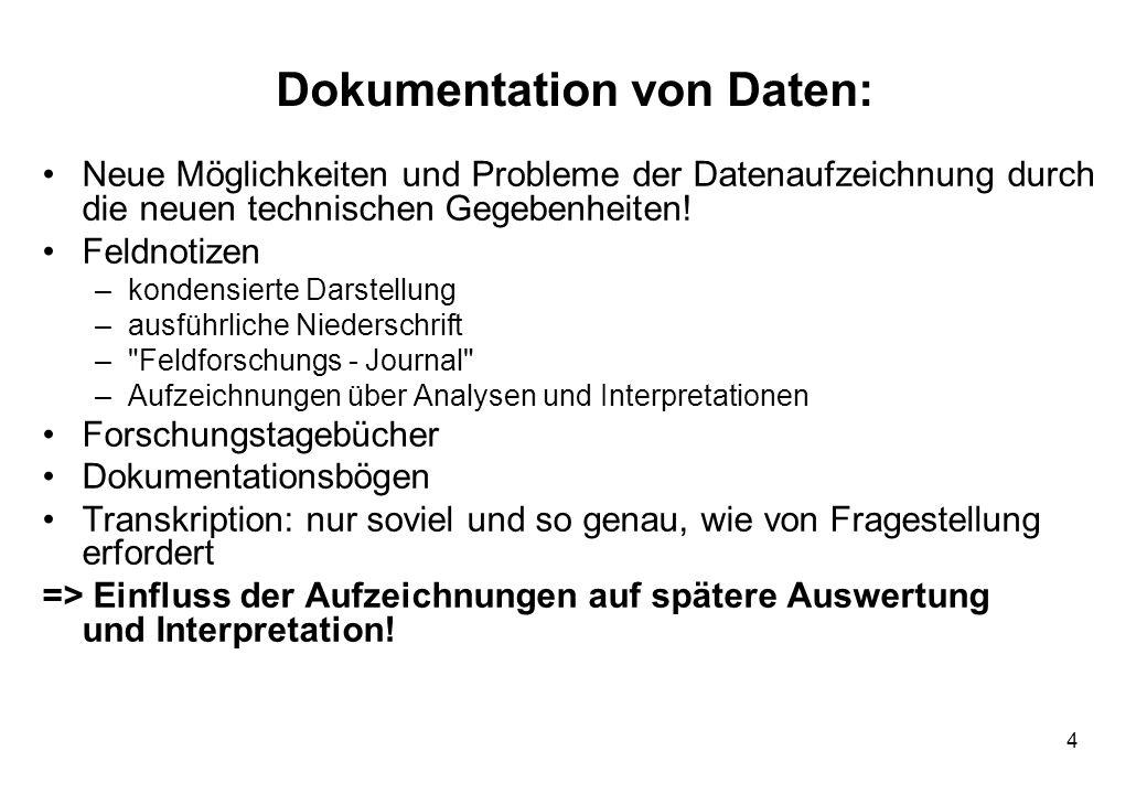Dokumentation von Daten: