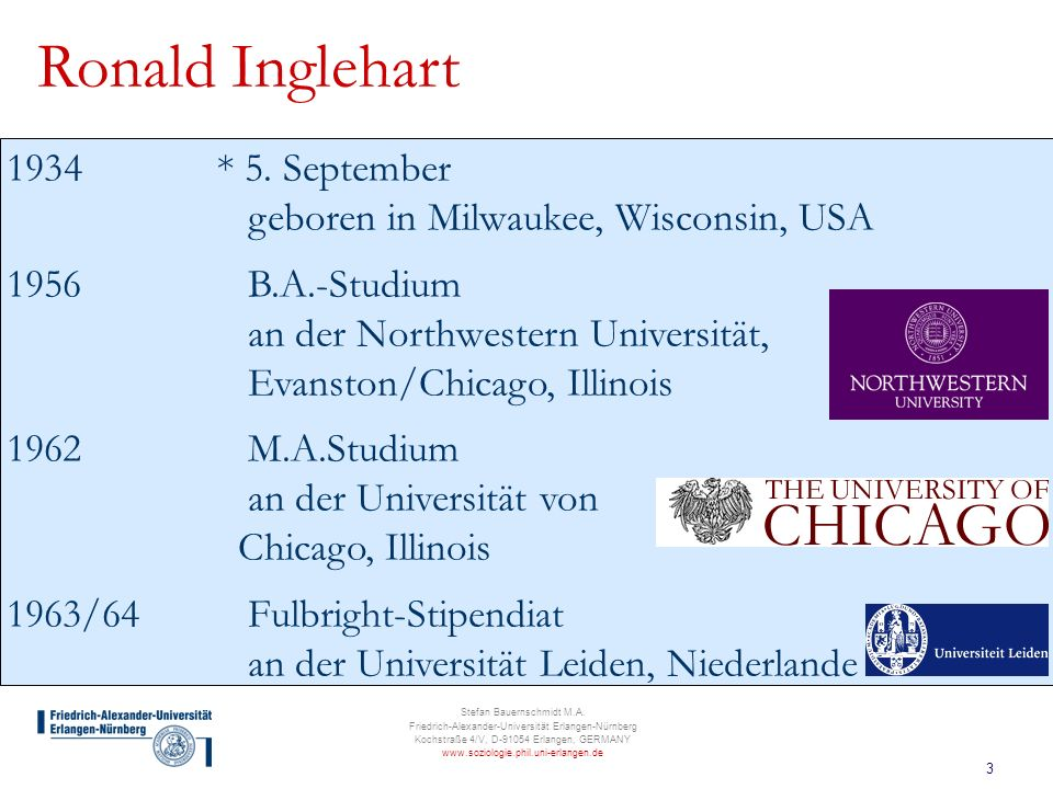Ronald Inglehart * 5. September geboren in Milwaukee, Wisconsin, USA