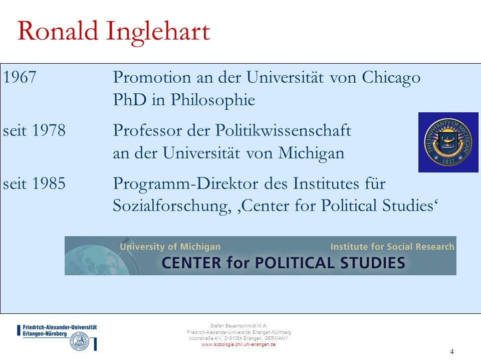 Ronald Inglehart 1967 Promotion an der Universität von Chicago PhD in Philosophie.