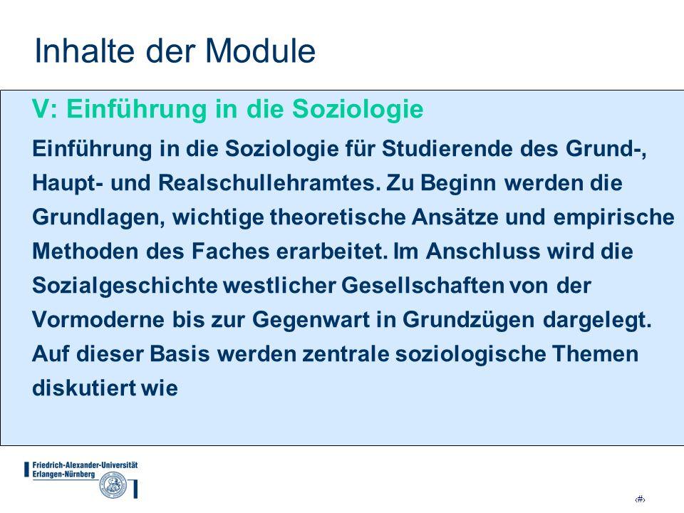 Inhalte der Module V: Einführung in die Soziologie