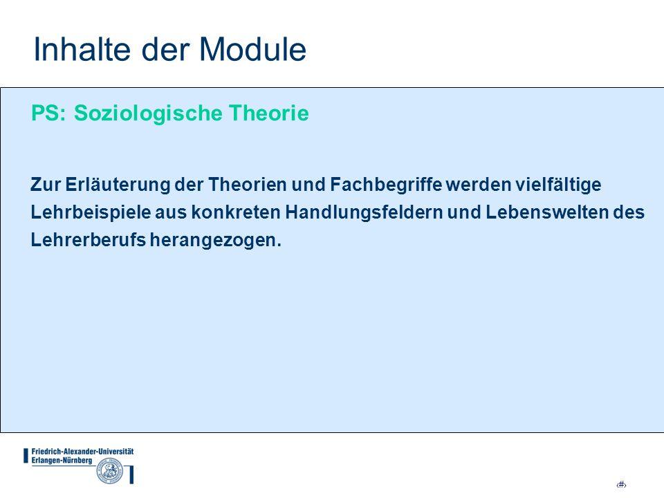 Inhalte der Module PS: Soziologische Theorie