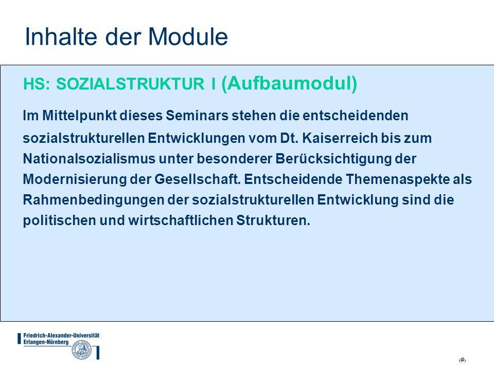 Inhalte der Module HS: SOZIALSTRUKTUR I (Aufbaumodul)