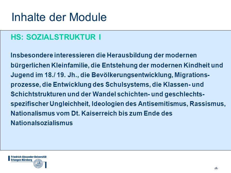 Inhalte der Module HS: SOZIALSTRUKTUR I
