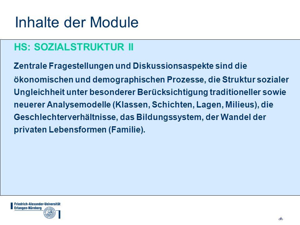 Inhalte der Module HS: SOZIALSTRUKTUR II.