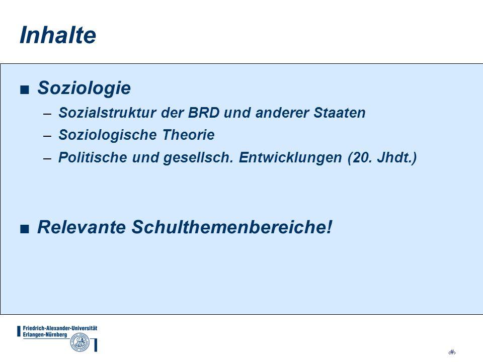 Inhalte Soziologie Relevante Schulthemenbereiche!