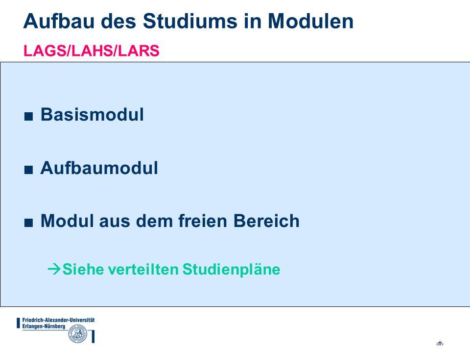 Aufbau des Studiums in Modulen LAGS/LAHS/LARS