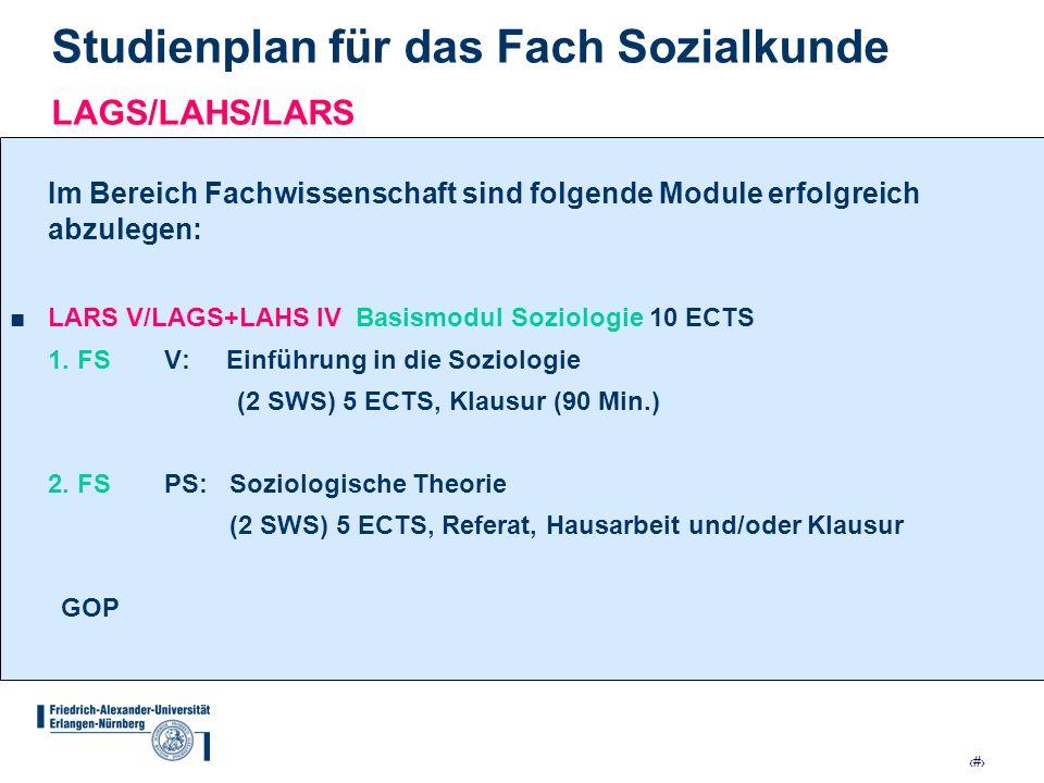 Studienplan für das Fach Sozialkunde LAGS/LAHS/LARS