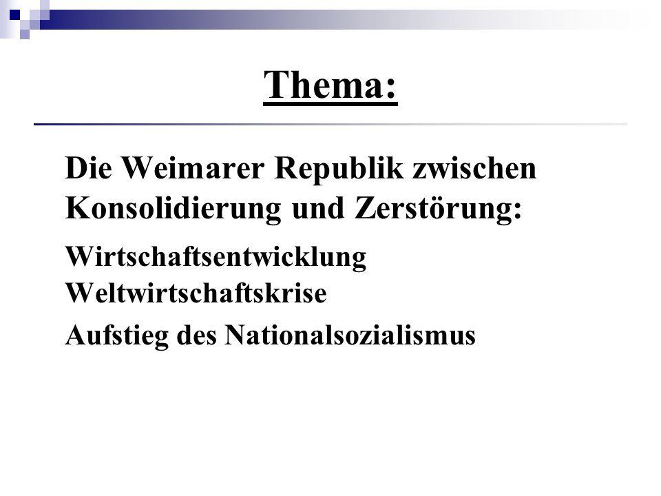 Thema: Die Weimarer Republik zwischen Konsolidierung und Zerstörung: