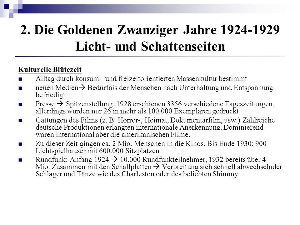 2. Die Goldenen Zwanziger Jahre 1924-1929 Licht- und Schattenseiten