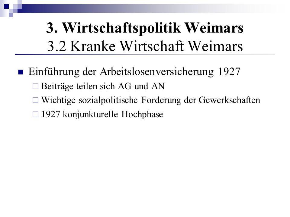 3. Wirtschaftspolitik Weimars 3.2 Kranke Wirtschaft Weimars