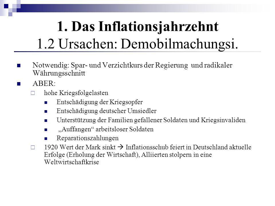 1. Das Inflationsjahrzehnt 1.2 Ursachen: Demobilmachungsi.