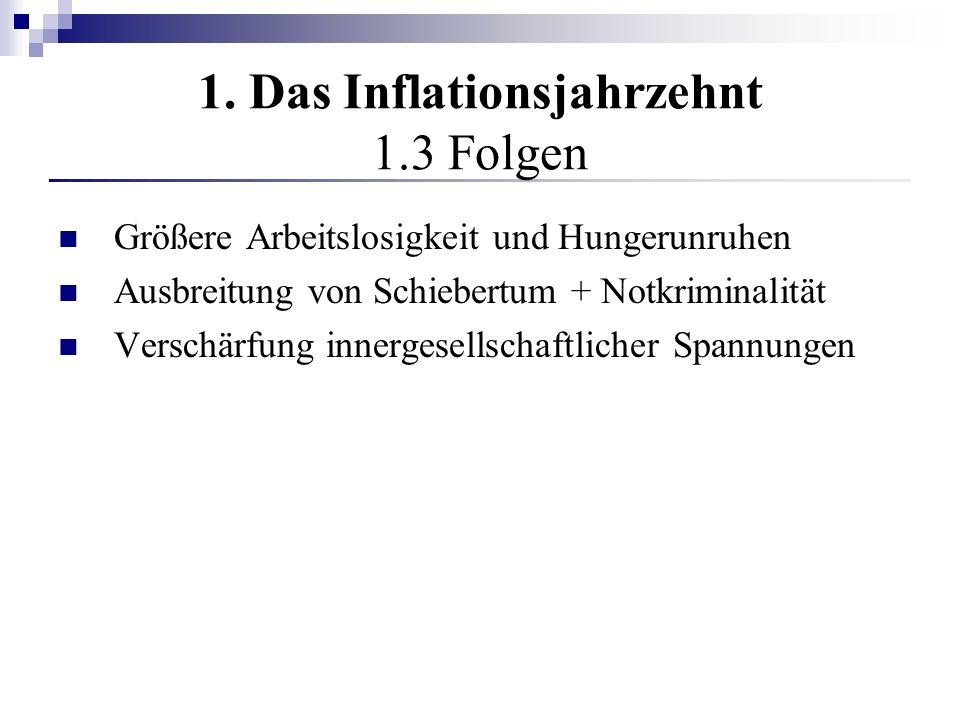 1. Das Inflationsjahrzehnt 1.3 Folgen