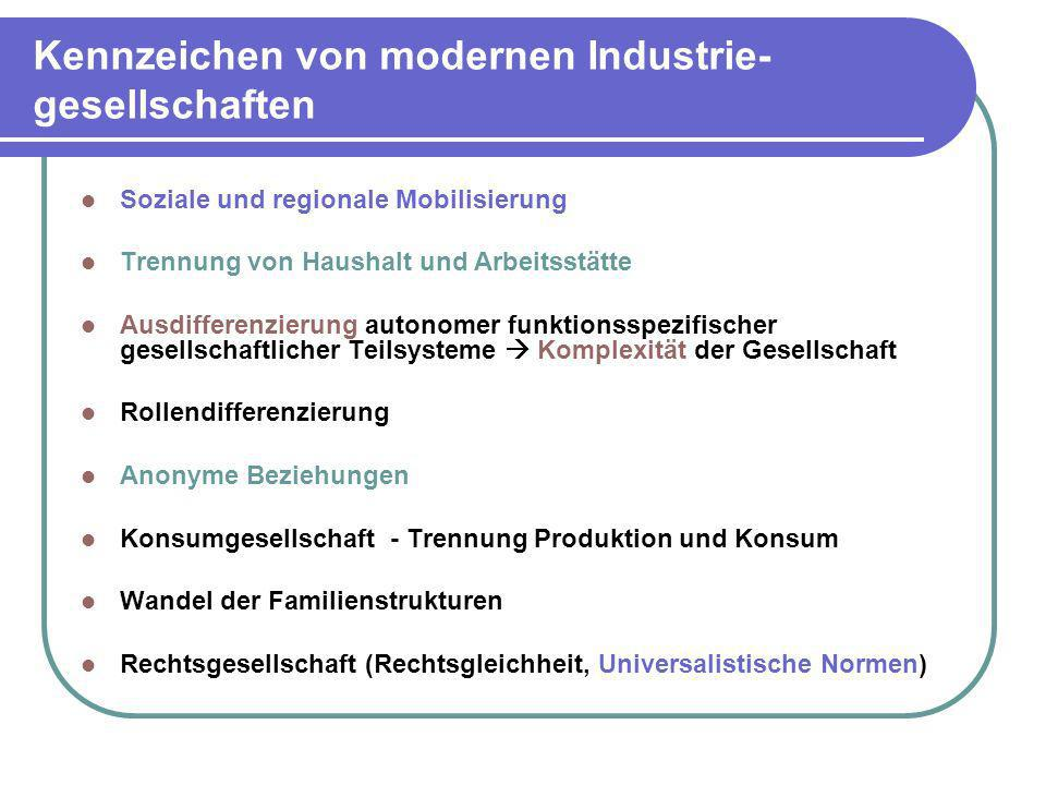 Kennzeichen von modernen Industrie-gesellschaften
