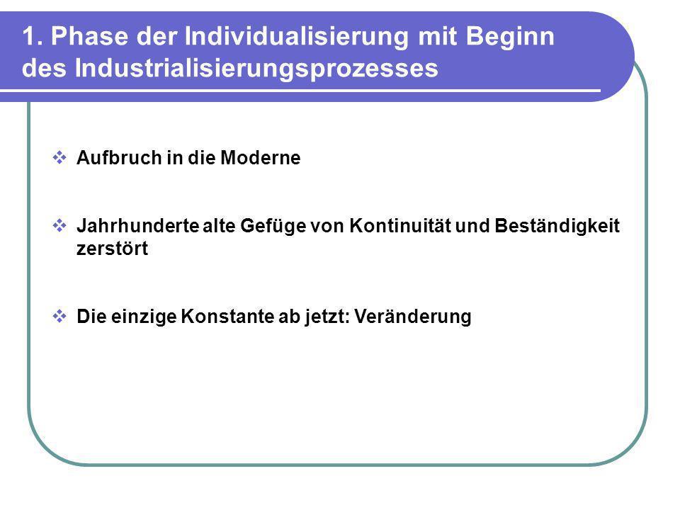 1. Phase der Individualisierung mit Beginn des Industrialisierungsprozesses