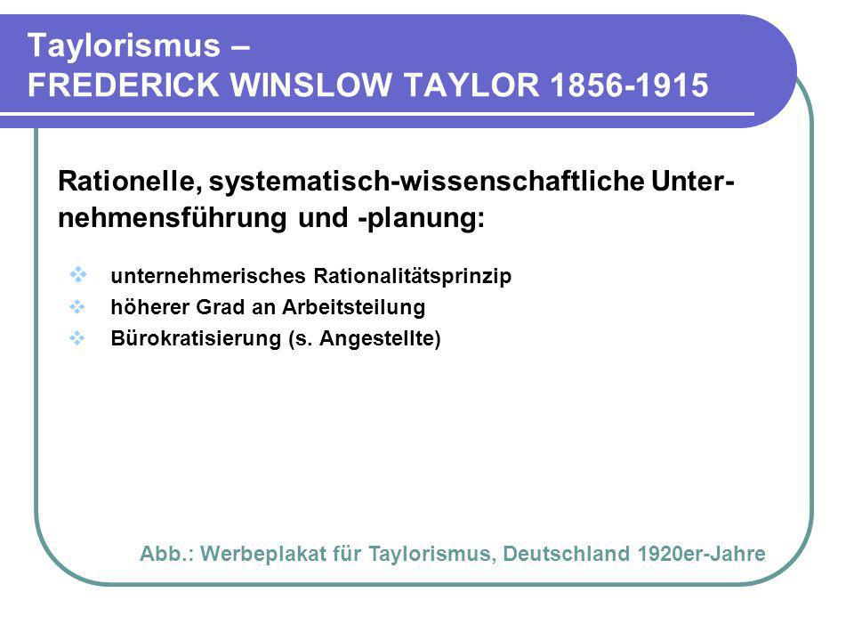 Taylorismus – FREDERICK WINSLOW TAYLOR 1856-1915