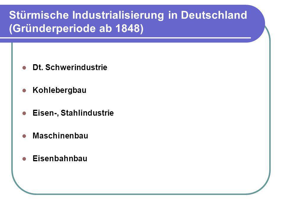 Stürmische Industrialisierung in Deutschland (Gründerperiode ab 1848)