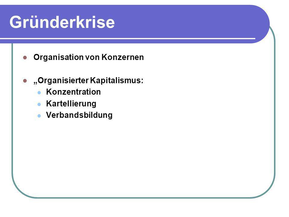 """Gründerkrise Organisation von Konzernen """"Organisierter Kapitalismus:"""