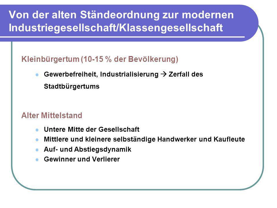 Von der alten Ständeordnung zur modernen Industriegesellschaft/Klassengesellschaft