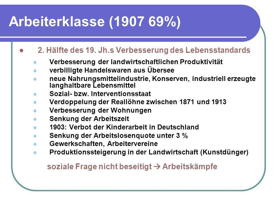 Arbeiterklasse (1907 69%) 2. Hälfte des 19. Jh.s Verbesserung des Lebensstandards. Verbesserung der landwirtschaftlichen Produktivität.