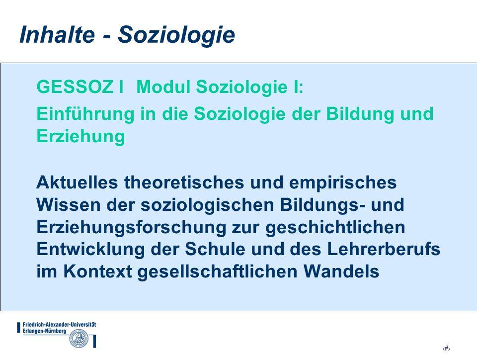 Inhalte - Soziologie GESSOZ I Modul Soziologie I: