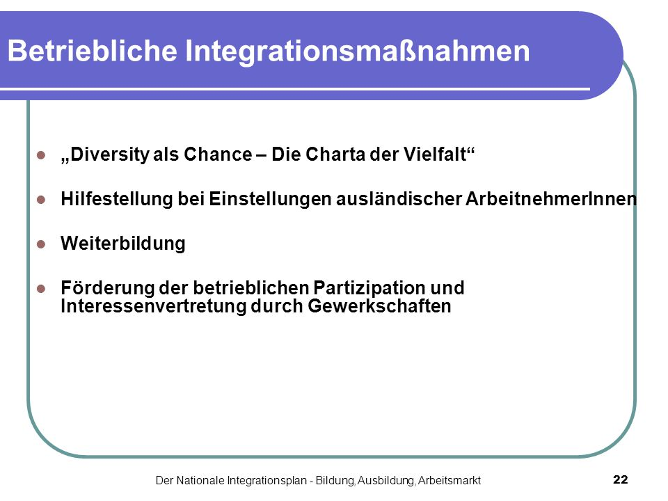 Betriebliche Integrationsmaßnahmen