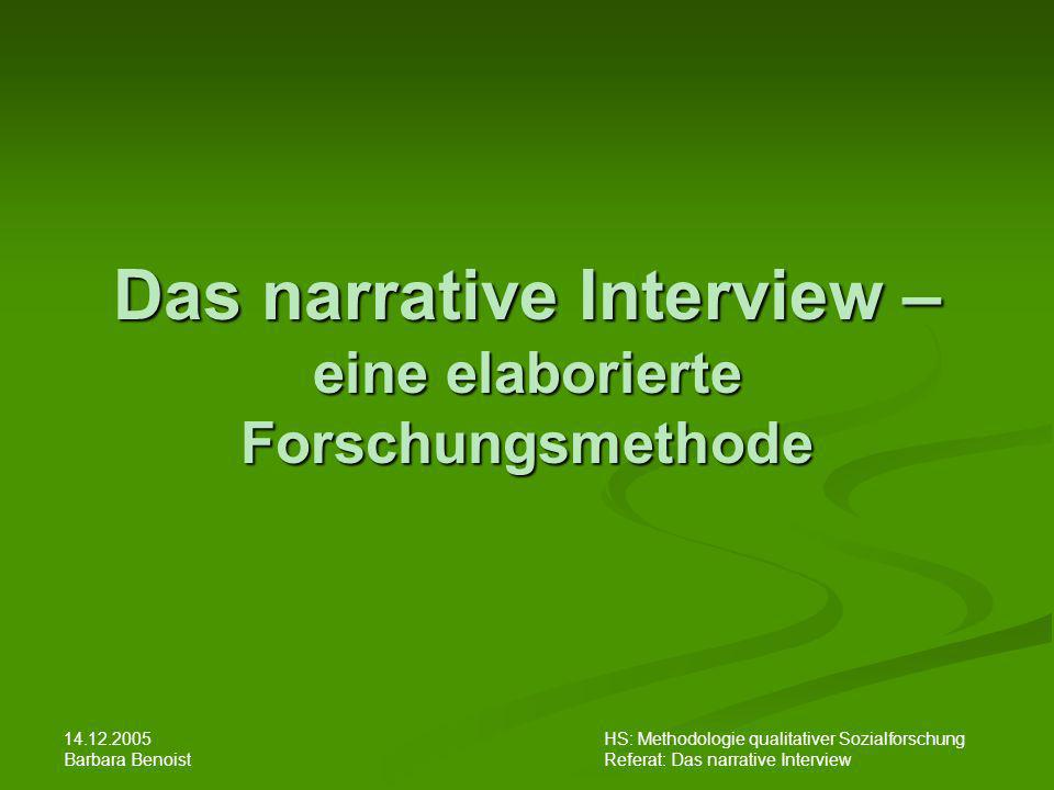 Das narrative Interview – eine elaborierte Forschungsmethode