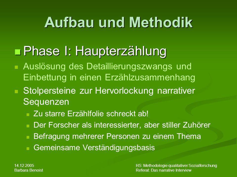Aufbau und Methodik Phase I: Haupterzählung