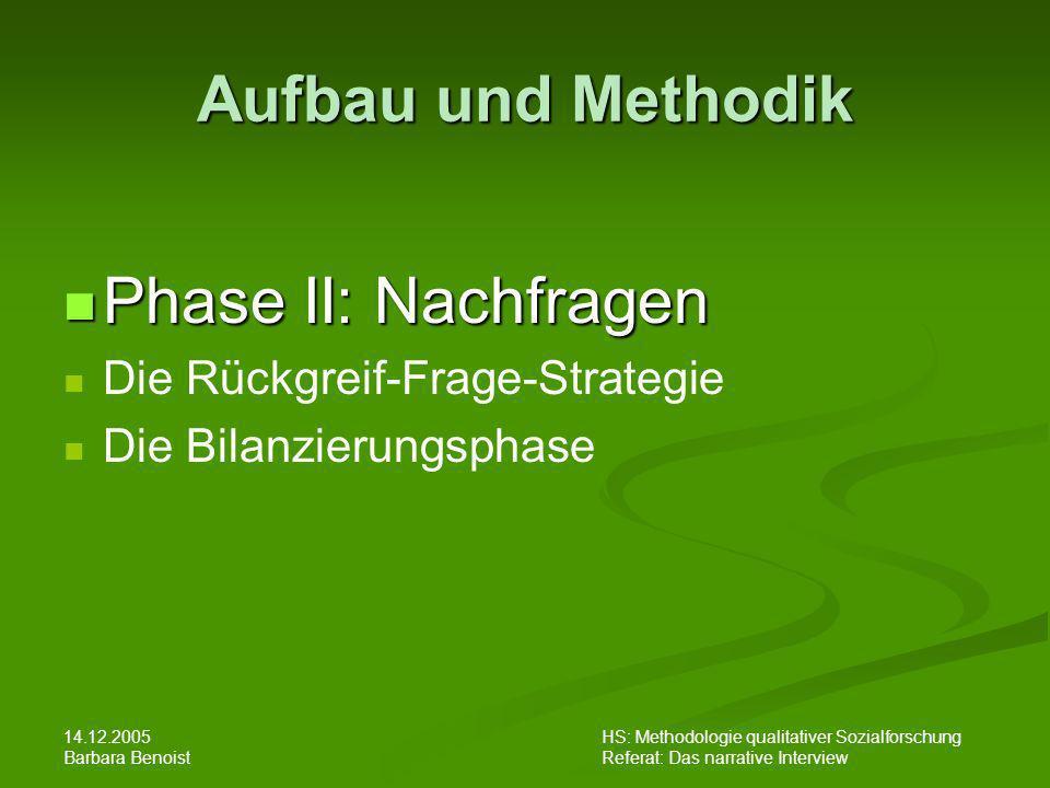 Aufbau und Methodik Phase II: Nachfragen Die Rückgreif-Frage-Strategie