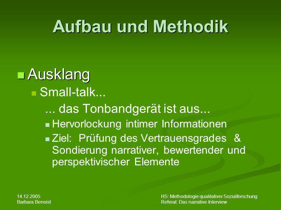 Aufbau und Methodik Ausklang Small-talk...