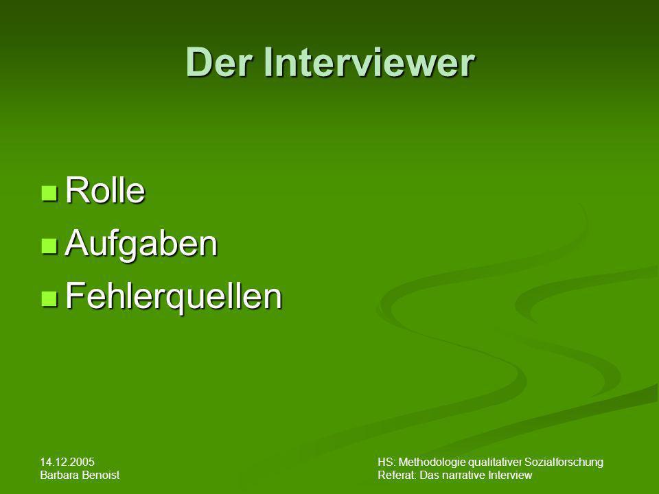 Der Interviewer Rolle Aufgaben Fehlerquellen 14.12.2005