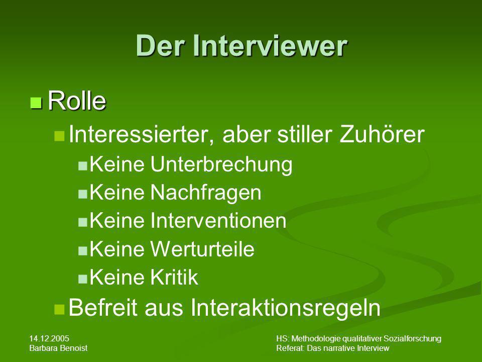 Der Interviewer Rolle Interessierter, aber stiller Zuhörer