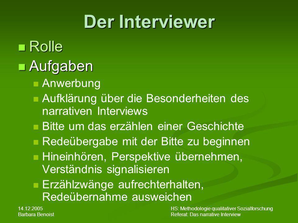 Der Interviewer Rolle Aufgaben Anwerbung