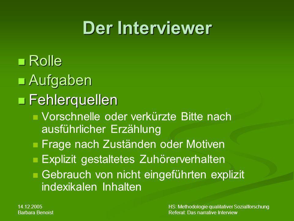 Der Interviewer Rolle Aufgaben Fehlerquellen