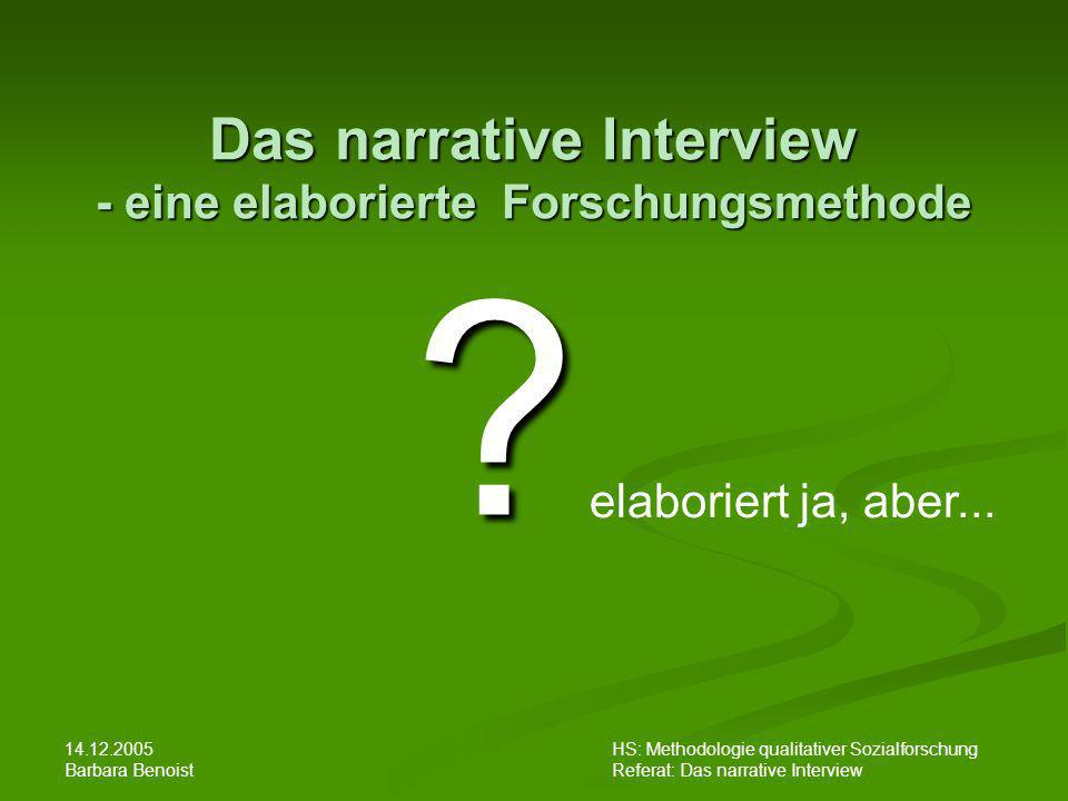 Das narrative Interview - eine elaborierte Forschungsmethode