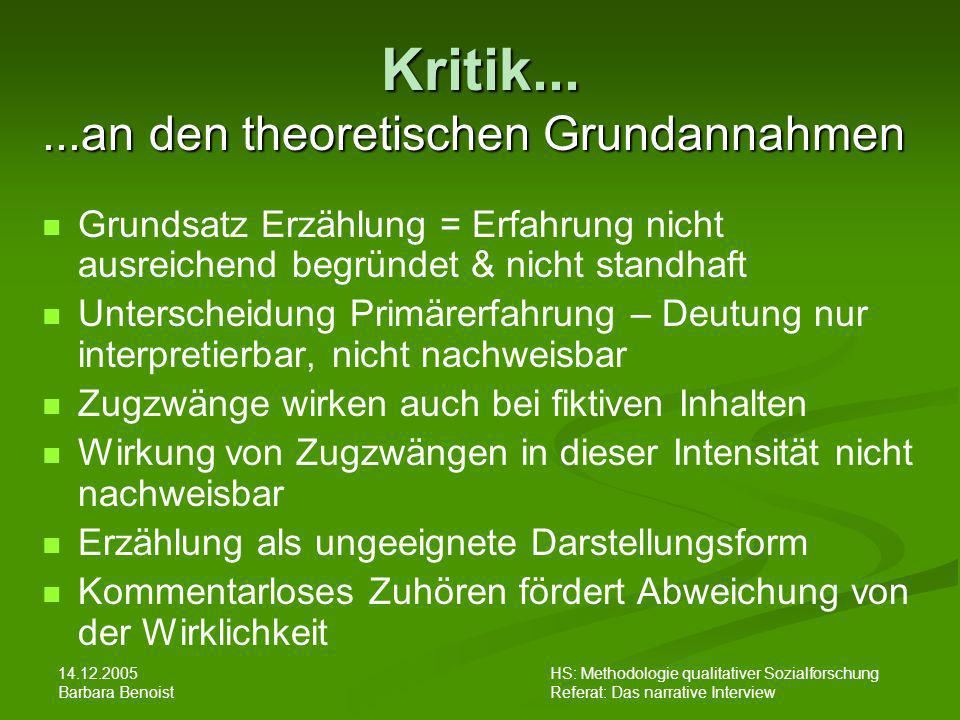 Kritik... ...an den theoretischen Grundannahmen