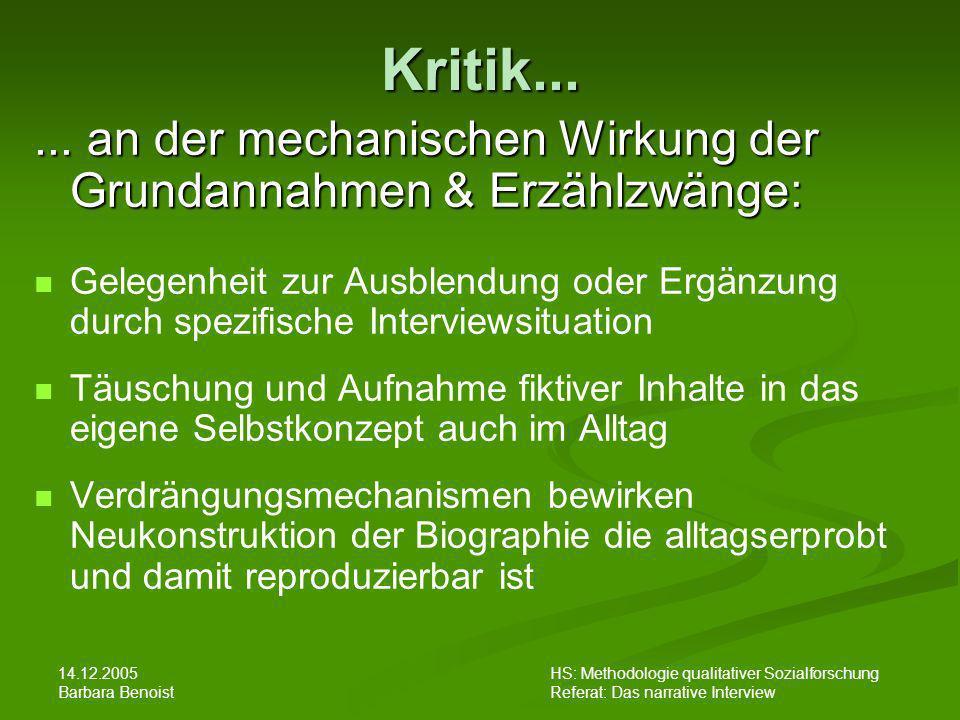 Kritik... ... an der mechanischen Wirkung der Grundannahmen & Erzählzwänge: