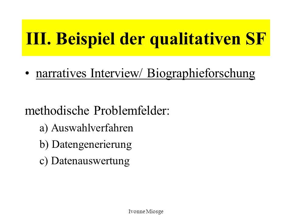 III. Beispiel der qualitativen SF