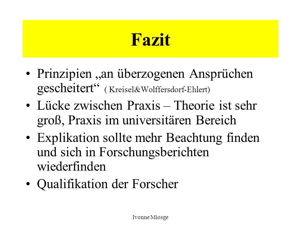 """Fazit Prinzipien """"an überzogenen Ansprüchen gescheitert ( Kreisel&Wolffersdorf-Ehlert)"""