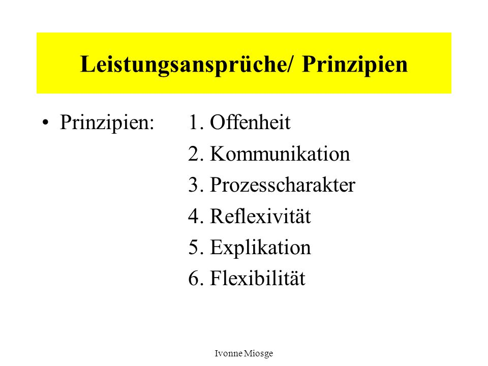 Leistungsansprüche/ Prinzipien