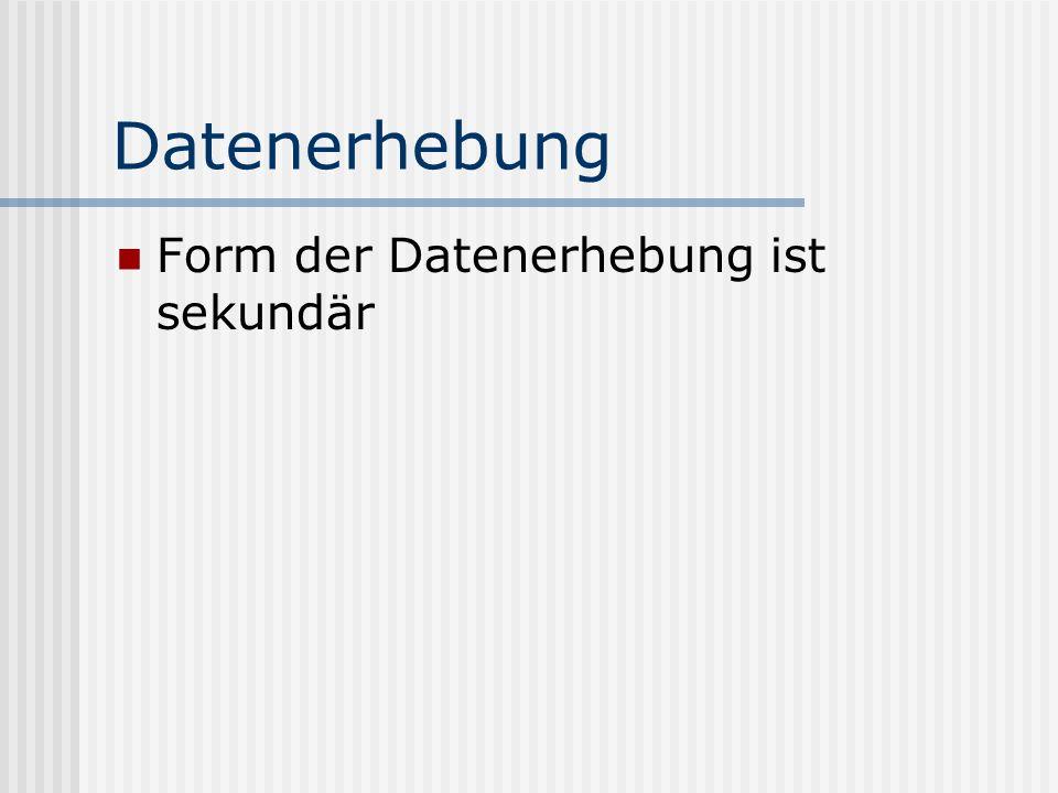 Datenerhebung Form der Datenerhebung ist sekundär