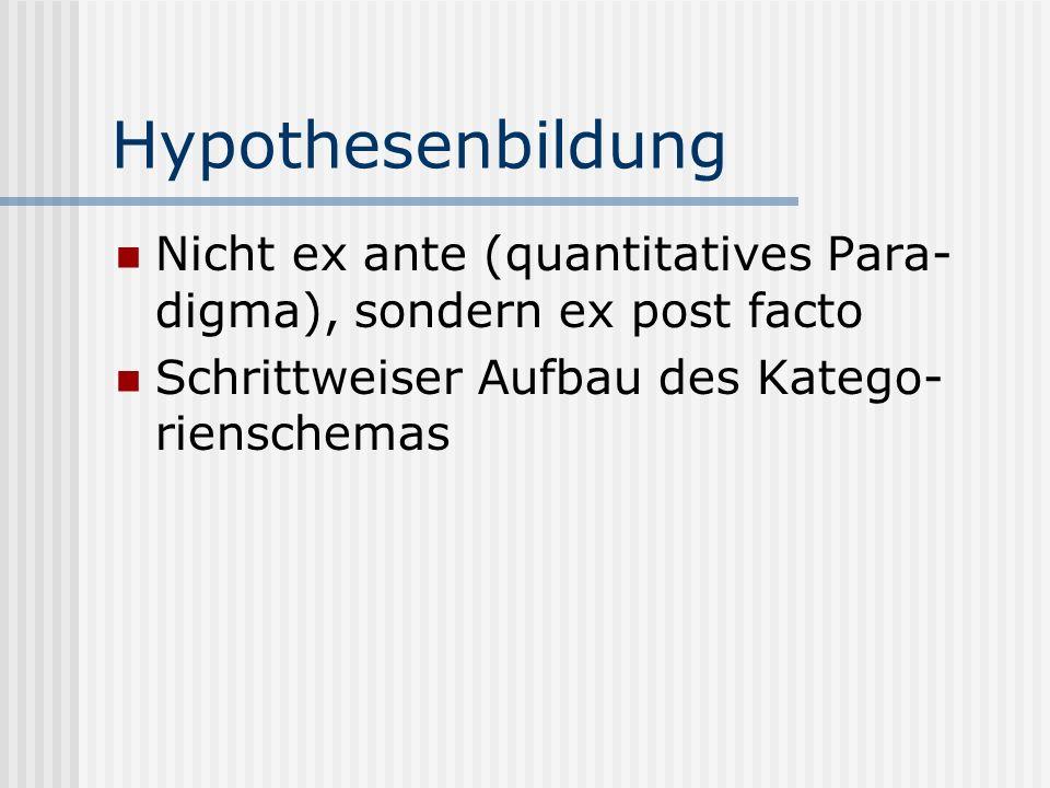 Hypothesenbildung Nicht ex ante (quantitatives Para-digma), sondern ex post facto.