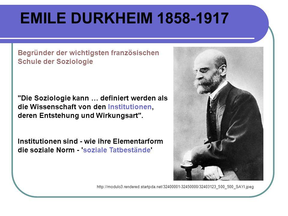 EMILE DURKHEIM 1858-1917 Begründer der wichtigsten französischen Schule der Soziologie.