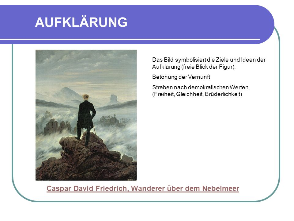 AUFKLÄRUNG Caspar David Friedrich, Wanderer über dem Nebelmeer