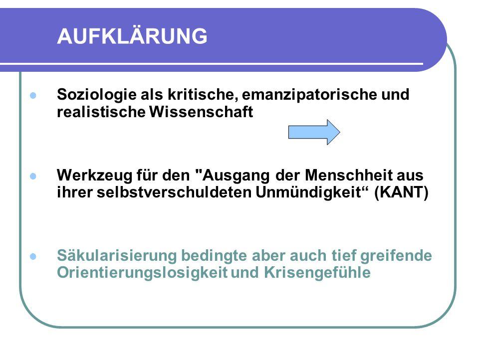 AUFKLÄRUNG Soziologie als kritische, emanzipatorische und realistische Wissenschaft.