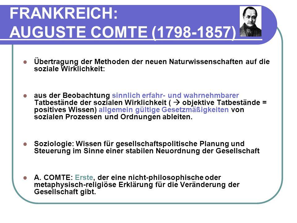 FRANKREICH: AUGUSTE COMTE (1798-1857)