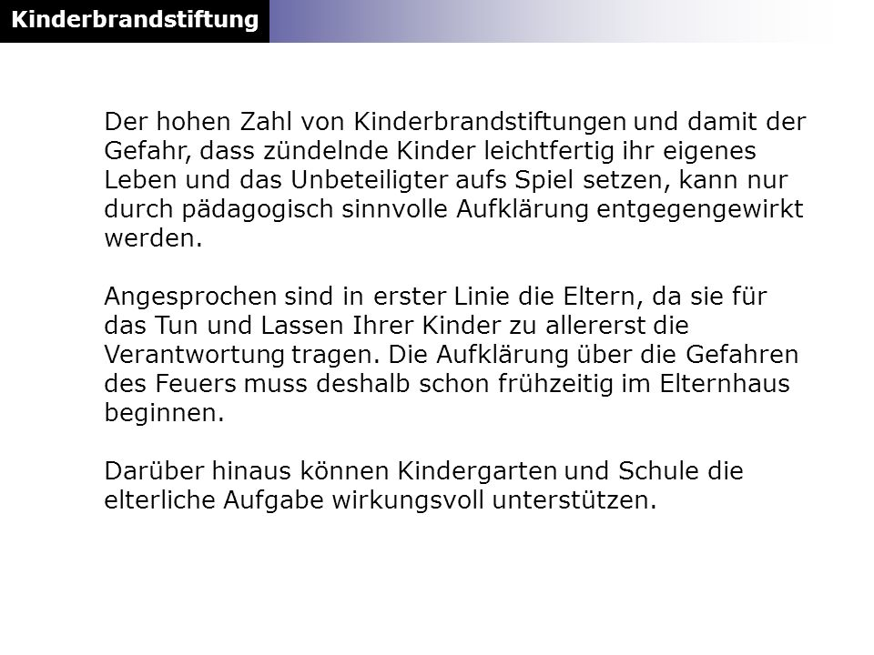 Kinderbrandstiftung