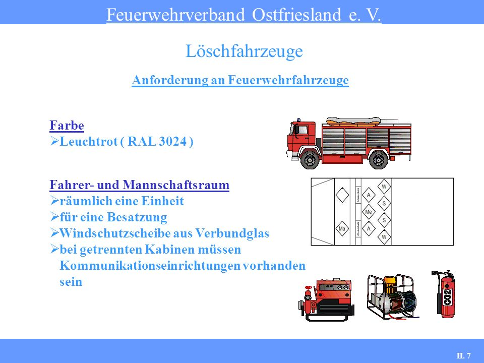 Anforderung an Feuerwehrfahrzeuge