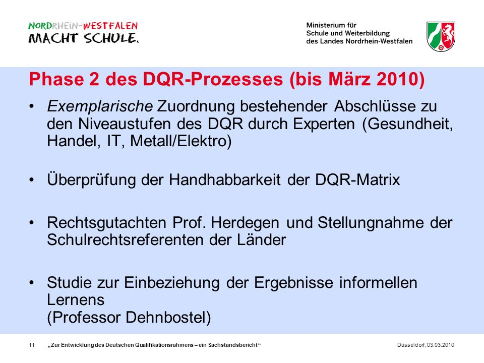 Phase 2 des DQR-Prozesses (bis März 2010)